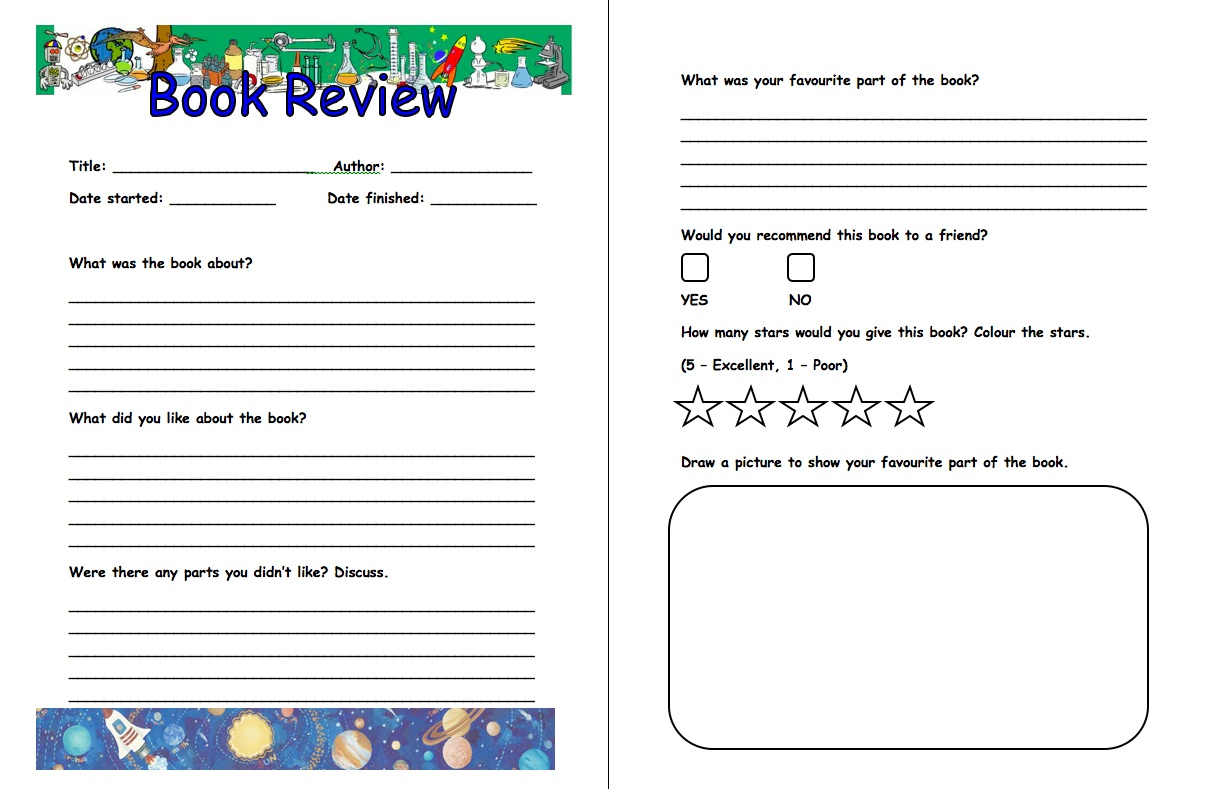 6th-Grade Book Report Template